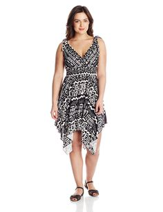 She's Cool Junior's Plus-Size Hi-Low Printed Dress, Black/White, 1X