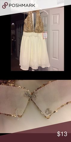 Ivory Halter Dress with Gold Sequin Top New with tags! Double clasp on top, one clasp is missing as seen in picture Dresses Mini