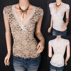 Fabulous Lace Floral Cross Bust Sheer Cap Sleeves Top Blouse