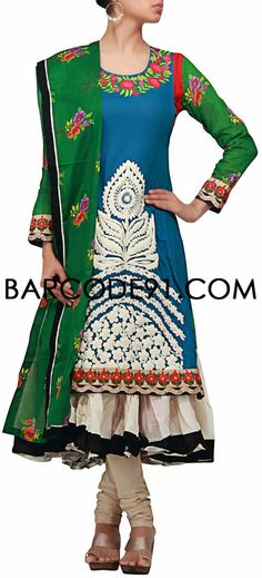 Buy it now http://www.barcode91.com/a-heavily-embroidered-blue-suit-with-anarkali-inner-by-b91-exclusive.html A heavily embroidered blue suit with anarkali inner by B91 Exclusive