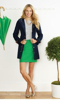 Kelly green skirt + navy and white striped shirt + navy trench coat