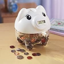 Digital Piggy Coin Counting Bank – White