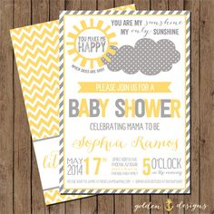 You Are My Sunshine Baby Shower Invite by GoldenAnchorDesigns
