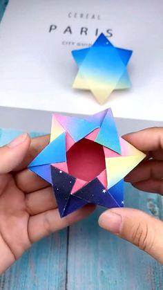 Paper Origami Flowers, Instruções Origami, Paper Crafts Origami, Cute Origami, Oragami, Cardboard Crafts Kids, Cool Paper Crafts, Diy Crafts To Do, Craft Stick Crafts