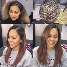 Versatile sew in on one of my favorites!!! #teqnicalstyles #tqtresses #rosegold…