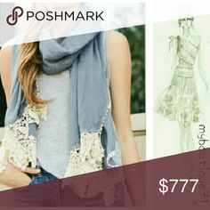 Coming Soon!! Chambray and Embroidered Floral Lace Scarf 35% cotton 65% poly. Accessories Scarves & Wraps