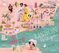 Travel Maps, Travel Posters, Places To Travel, Building Illustration, Travel Illustration, Lisbon Map, Portugal Travel, Map Design, City Maps