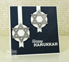 Happy Hanukkah; Hanukkah Light and Love Die-namics; Pierced Circle STAX Die-namics; Fishtail Flags Layers STAX Die-namics - Debbie Carriere