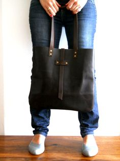 Brown Oversized Leather tote  Bag by Smadars on Etsy, $139.00