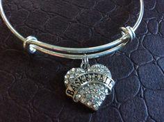 Basketball Crystal Heart Charm Silver Expandable Bangle Bracelet Sports Team Coach Gift Adjustable