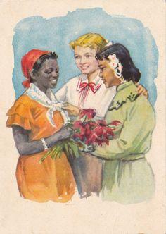N. Sergeeva Friendship Postcard -- 1955. Condition 9/10 4x6 (postcard), unsigned