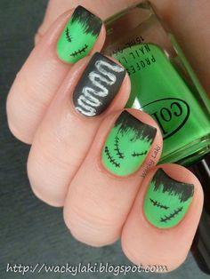 Green and Black Monster Nails. Frankenstein/Bride of Frankenstein nail art design for Halloween. Halloween Nail Designs, Halloween Nail Art, Cool Nail Designs, Halloween Boo, Cute Nails, Pretty Nails, Gel Nails, Acrylic Nails, Toenails