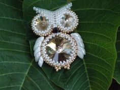 White And Gold Rivoli Rhinestone Beaded Owl by KraftyKravings, $20.99