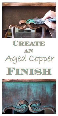 Create an Aged Copper Finish by Thicketworks for Graphics Fairy. A beautiful Painted Finish Technique! Tutorial brought to you by Heirloom Traditions. Perfect for DIY Home Decor Furniture Projects and Crafts! Great for a Farmhouse Style or Shabby Style Ho Repurposed Furniture, Home Decor Furniture, Furniture Projects, Furniture Makeover, Vintage Furniture, Cheap Furniture, Discount Furniture, Furniture Online, Copper Furniture