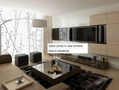 Love this tv wall with LED strip lights behind the white glass panel.www.utanagel.com