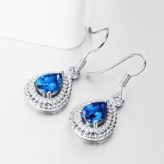 Arlumi 18k Platinum Plated Elegant luxury Queen Blue Crysral & Cubic Zirconium TearDrop French Wire Dangle Earrings E056-C