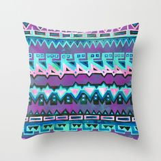 AZTEC STRIPE - pink Throw Pillow  by SchatziBrown