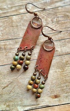 Boho Earrings – Copper Earrings – Recycled Jewelry – Natural Stone Earrings – Geometric Earrings – N Boho Ohrringe – Kupfer Ohrringe – Recycling Schmuck – Naturstein Ohrringe – geometrische Ohrringe – N Diy Leather Earrings, Copper Earrings, Diy Earrings, Copper Jewelry, Clay Jewelry, Jewelry Crafts, Stone Earrings, Jewellery Earrings, Gold Jewellery
