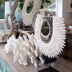 Our stunning new shell necklaces on black metal stands look amazing displayed on a console or bookcase. Have a great weekend. . . #alfrescoemporium #islandemporium #bundall #Collaroy #goldcoastshopping #tribalnecklace #InteriorInspiration #DecorLove #triballuxe #tribalinteriors