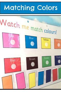 Matching Colors Learning Sheet #color #colour #worksheets #preschool #preschoolers #prek #homeschool #homeschooling #daycare #toddlers #classroom #affiliate