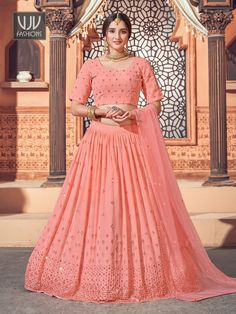 Rs4,100.00 Georgette Fabric, Bridal Lehenga Online, Lehenga Dupatta, Indian Wedding Outfits, Indian Outfits, Party Wear Lehenga, Saree Shopping, Peach Colors