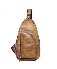 4679e43a89 Men s Full Grain Leather Chest Bag Cross Body Sling Backpack - brown -  CL12NGE82EH