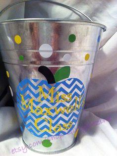Personalized Teacher Buckets on Etsy, $8.00