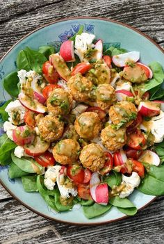 awesome Fresh salad with baked bean balls and mild mustard vinaigrette