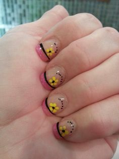 Summer fun flower nail design art