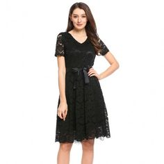 Women V-Neck Short Sleeve Belted Fit And Flare Floral Lace Dress