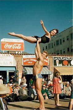 "westside-historic: "" The original muscle beach in Santa Monica in 1951. Photo: Bob Mizer Source: http://forum.skyscraperpage.com/ """