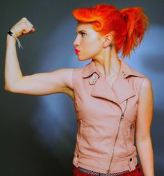 Firey orange hair. Looks even better with the cut and style.