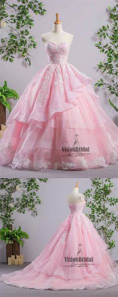 Pink Sweetheart Lace Up With White Lace Embroidery Asymmetrical Long Prom Dress, Princess Prom Dress With Ruffles, VB0448 #promdress #promdresses #lacedress