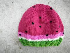 Hos Anna-ananas: Vandmelon-hue, str. 2-3 år Knitting For Kids, Baby Knitting, Baby Items, Knitted Hats, Little Girls, Winter Hats, Anna, Crochet, Fashion