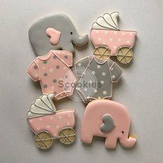 Galletas de ducha de bebé para niña galletas elefante rosa y