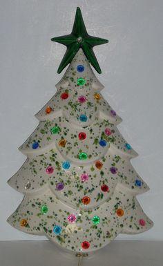 Mid Century Lighted Ceramic Wall Christmas Tree 1956