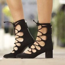 ZARA A/W2015 BLACK LACE UP HEELED SHOES SANDALS KNEE HIGH SIZE EU 37/UK 4/US 6.5