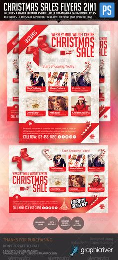 """Christmas Holiday Season Sales Flyer   #GraphicRiver         Presenting to you a beautiful Christmas Holiday Season Sales Product Flyer. This is your perfect choice is you or your store, mall or business is having Christmas Sales """"seasonal sales"""", offers, discounts, promotions and more.  Features:   2 PSD – Landscape & Portrait  6""""x4"""" & 4""""x6"""" inches  Perfect for Product Display  Print Ready – 300 DPI, CMYK, Bleeds Included  Attractive Design  Isolated Design Elements – 100% Editable…"""