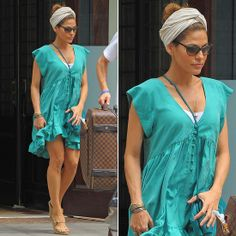 Eva Mendes Wearing Turquoise Dress | POPSUGAR Fashion