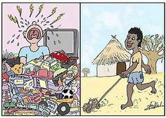 dessins de 2 enfants :occident/tiers monde