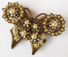 Vintage Unsigned Miriam Haskell Filigree Rhinestone Faux Pearl Butterfly Brooch.