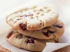 Macadamia Butter Cookies with Dried Cranberries | We love these thick, satisfying cookies as humble as peanut butter cookies but not as crumbly. Dried cranberries provide a slightly tart counterpoint to the macadamia nuts' richness. The dough is somewhat sticky; chilling it briefly makes handling easier.