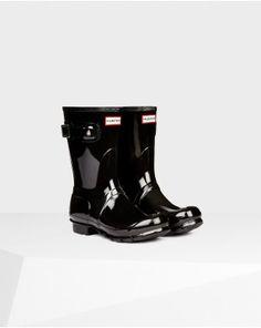 Hunter Women's Original Short Gloss Wellington Boots Black #HunterBoots #HunterRainBoots
