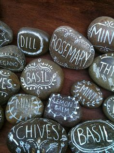 Find smooth river rocks to paint herb names signs, look like chalk; perfect for vintage style home garden decor; upcycle, recycle, salvage, diy, repurpose! For ideas and goods shop at Estate ReSale & ReDesign, Bonita Springs, FL
