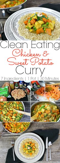 This Clean Eating Chicken & Sweet Potato Curry is an easy, healthy, & delicious weeknight dinner! 7 ingredients, one-pot, and 30 minutes is all you need! Easy Chicken Recipes, Easy Healthy Recipes, Paleo Recipes, Whole Food Recipes, Easy Meals, Healthy Food, Healthy Eating, Protein Recipes, Lunch Recipes