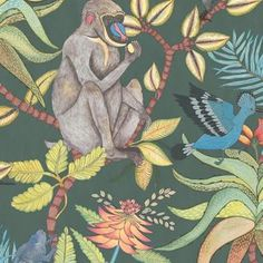 Cole and Son Savuti wallpaper in Dark Petrol Multi from The Ardmore Collection Monkey Wallpaper, Print Wallpaper, Animal Wallpaper, Wallpaper Roll, Cole And Son Wallpaper, African Traditions, Maila, Jungle Print, Baboon