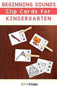 Beginning and Ending Sounds Clip Cards For Kindergarten Teaching Kindergarten, Preschool, Teaching Calendar, Sound Clips, Beginning Sounds, Literacy Centers, First Grade, Curriculum, Activities