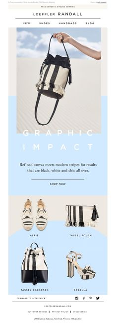 Loeffler Randall - Earn Your Stripes Email Layout, Newsletter Layout, Email Newsletter Design, Web Layout, Layout Design, Graphic Design Brochure, Branding Design, Web Design, Lookbook Layout
