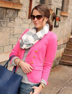 bright blazer, gray T, infinity scarf