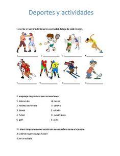 una gua simple para practicar el vocabulario relacionado con los deportes y actividades de tiempo libre.___________________________________________________an easy and simple worksheet to practise vocabulary related with sports and activities.